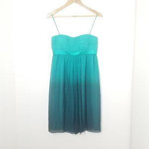 Donna Morgan | Teal Aqua Ombre Silk Midi Dress 8